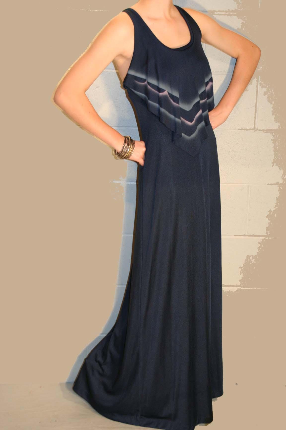 NAVY BLUE VTG 70s HIPPIE BOHO MAXI LONG HALTER DRESS XS~S
