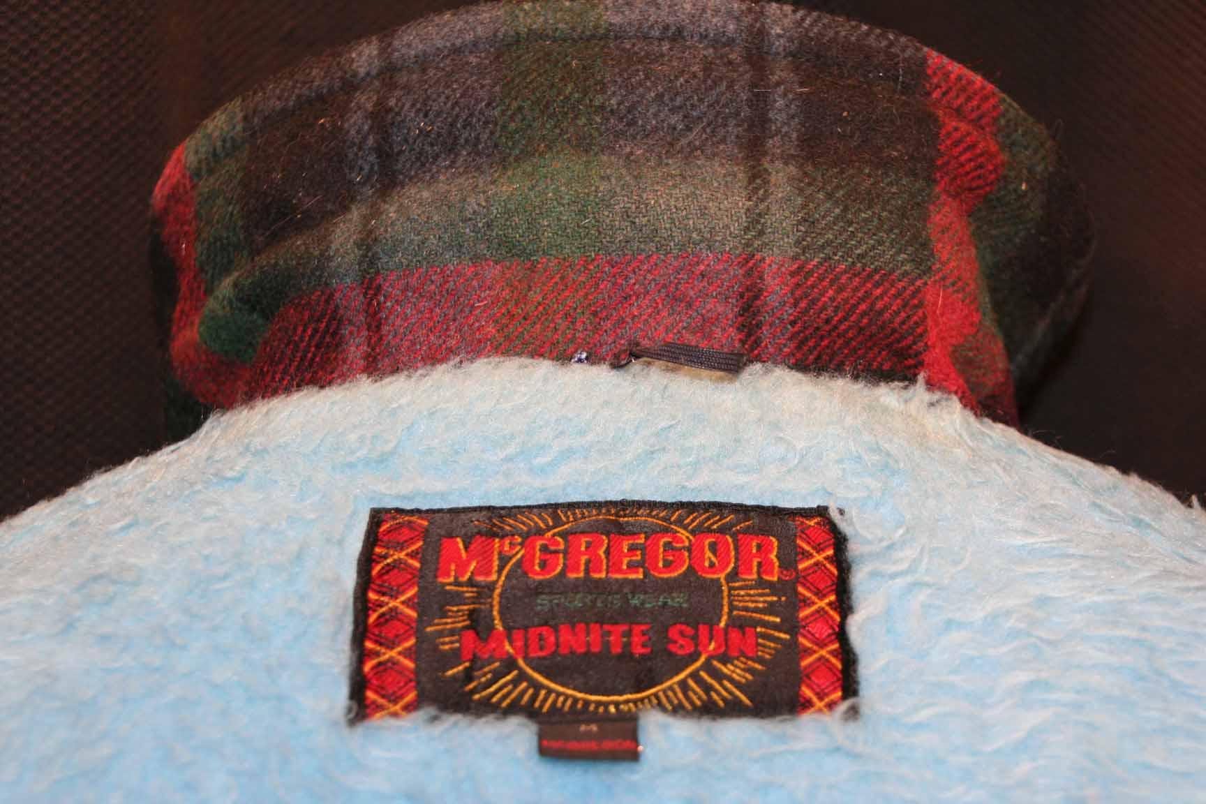 M Mens Vtg 60s Blue Green Plaid Wool McGregor Midnite Sun Jacket Car Coat